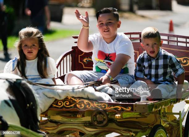 Young travellers arrive by horse and trap on the first day of the Appleby Horse Fair on June 7 2018 in Appleby EnglandThe fair is an annual gathering...
