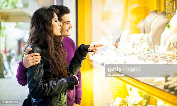 Young Turkish Couple Window Shopping in the City Streets