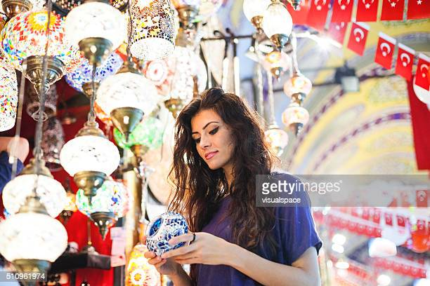 Young Turkish Girl Shopping in Grand Market