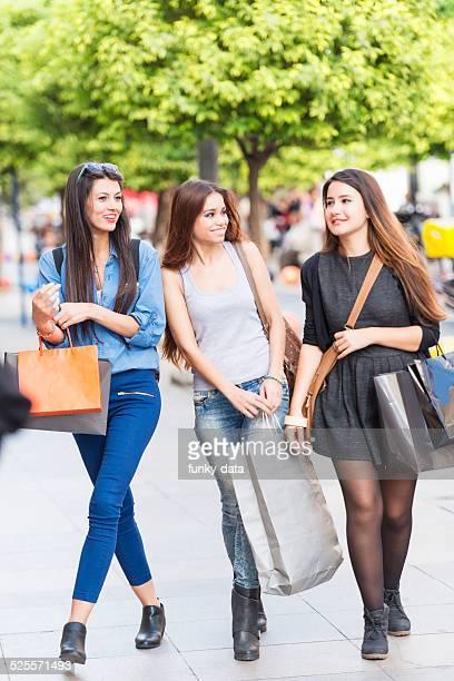 young turkish women shopping on bahariye street - kadikoy stock photos and pictures
