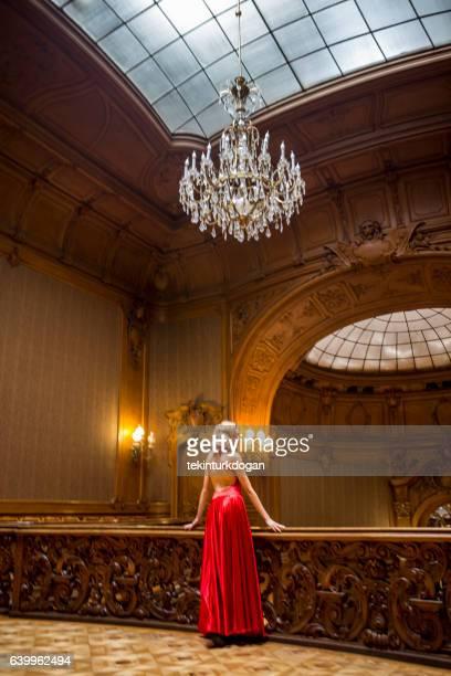 Young ukrainian female posing at historical building in  lviv ukraine
