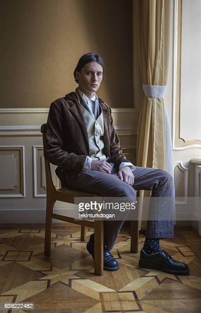 young ukranian male model posing with costume at lviv ukraine - period costume stock pictures, royalty-free photos & images