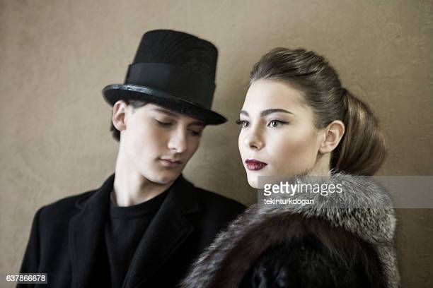 Young ukranian models posing with costume at lviv ukraine