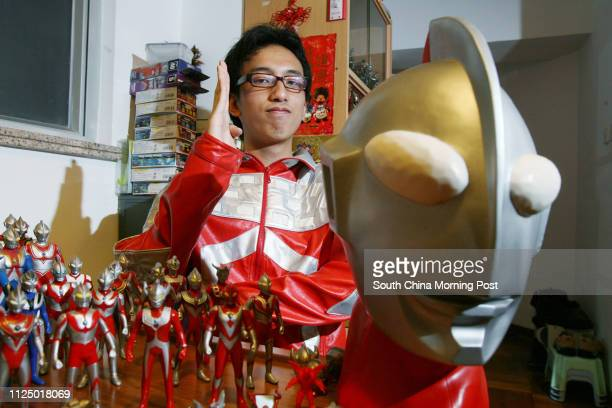 Young Ultraman collector Michael Mok Ka-hei , pictures with his Ultraman collection at his home in Tseung Kwan O. 23 February 2007