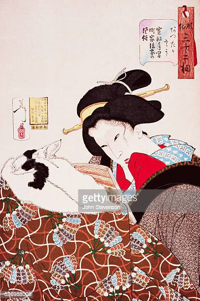 A young urban widow of the Kansei era reads a novel the lower half of her body covered by a kotatsu quilt From the series Fuzoku sanjuniso 'ThirtyTwo...