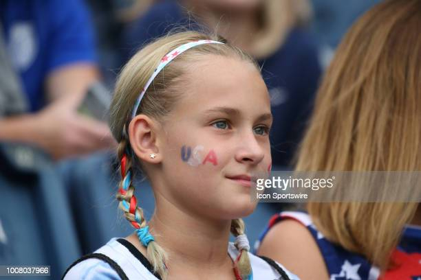 A young USA fan before a women's soccer match between Brazil and Australia in the 2018 Tournament of Nations on July 26 2018 at Children's Mercy Park...