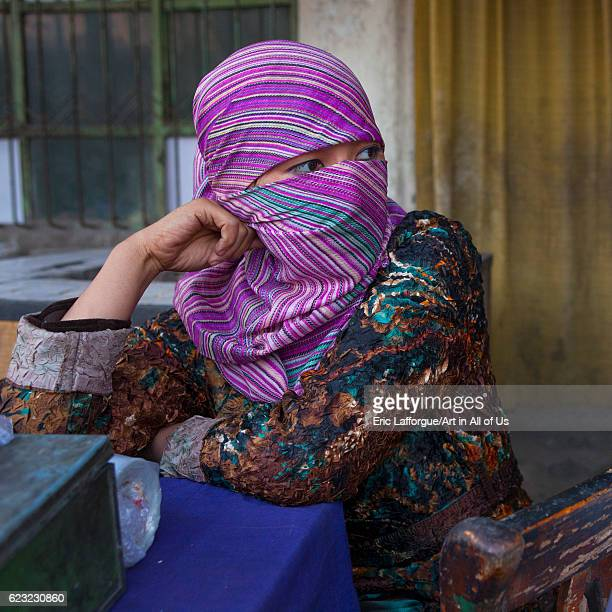 Young Uyghur girl with fully covered face Yarkand Xinjiang Uyghur Autonomous Region China on September 19 2012 in Yarkand China