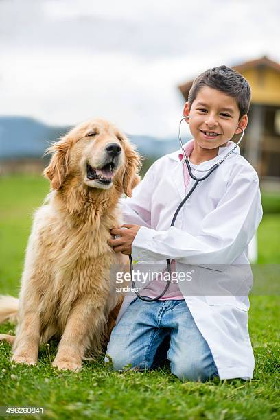 Young vet with a dog