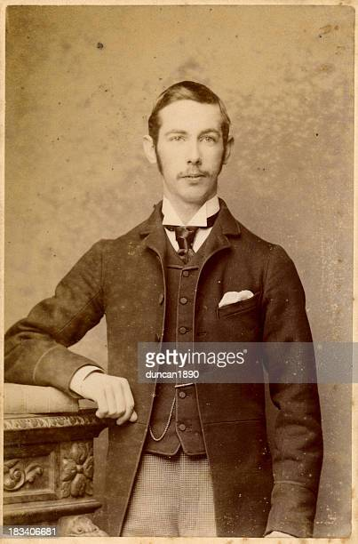 young victorian man old photograph - photography stockfoto's en -beelden