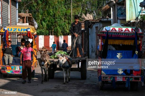 A young villager rides on his donkey cart near the shrine of Baba Guru Nanak Dev at Gurdwara Darbar Sahib in Pakistan's town of Kartarpur near the...