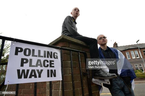 Young voters Jon Ramsay and Joshua Darllow at Broomhill Primary School polling station on September 18 2014 in Glasgow Scotland After many months of...