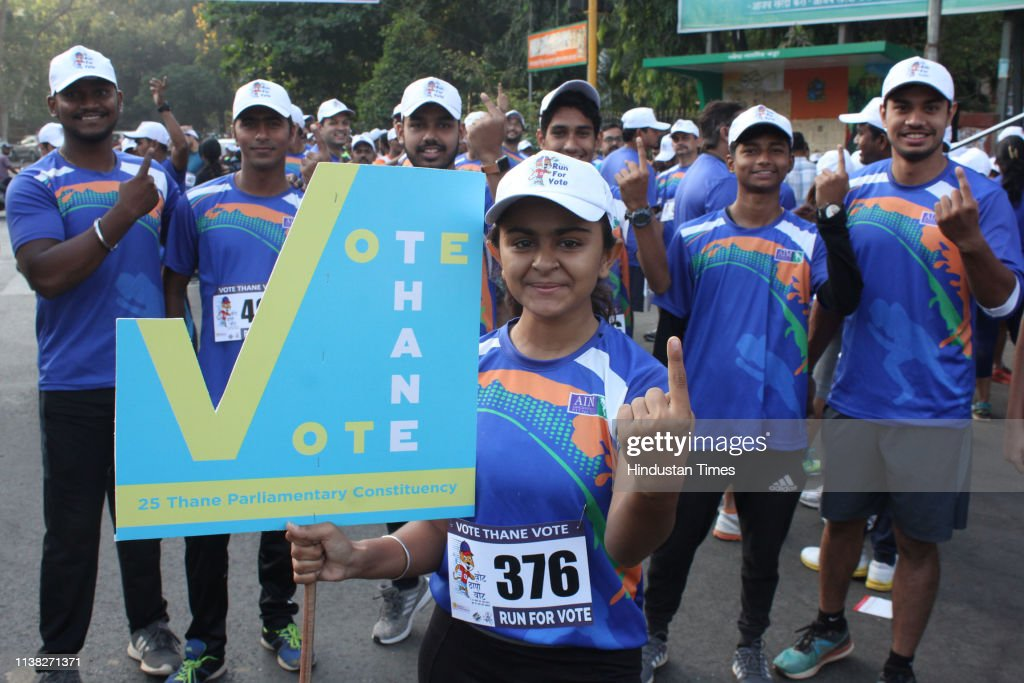 IND: Thnae District Election Commission Organises Run To Create Awareness To Cast Their Vote In Lok Sabha Elections