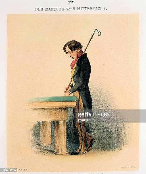 Young waiter after midnight half asleep leaning against a pool table From Viennese characters in figurative illustrations Publisher LT Neumann Vienna...