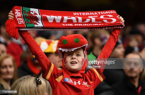 A young Wales fan shows his support during the Guinness Six Nations match between Wales and England at Principality Stadium on February 23 2019 in...