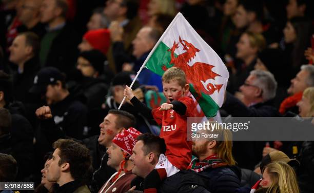 A young Wales fan waves his flag during the International match between Wales and New Zealand at Principality Stadium on November 25 2017 in Cardiff...