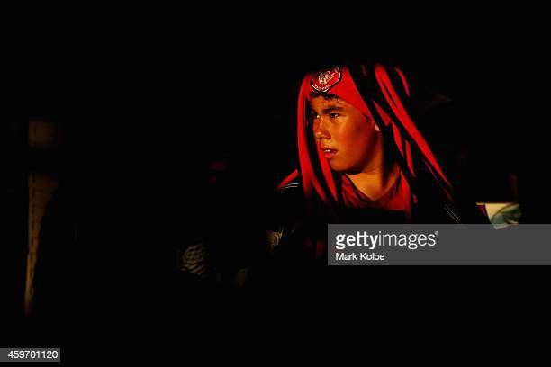 A young Wanderers supporter arrives at the ground during the round eight ALeague match between Western Sydney Wanderers and Sydney FC at Pirtek...