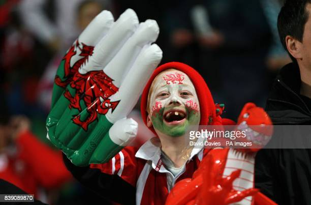 A young Welsh fan waves an inflatable hand in support of his team