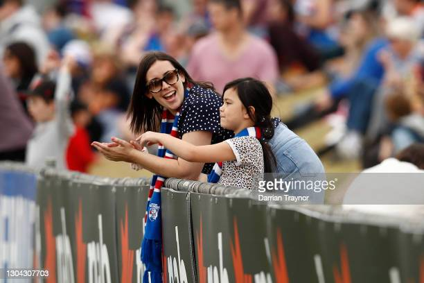 Young Western Bulldogs fan looks on during the round five AFLW match between the Western Bulldogs and the GWS Giants at Whitten Oval on February 27,...