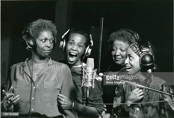 A Young Whitney Houston is seen during a recording session with mother Cissy Houston circa 1982 in Newark New Jersey