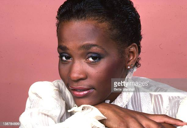 A Young Whitney Houston is seen pictured during a portrait session circa 1982 in New York City