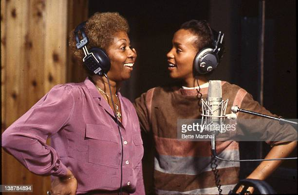 A Young Whitney Houston is seen pictured during a recording session with mother Cissy Houston cicra 1982 in Newark New Jersey