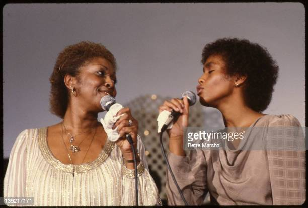 A young Whitney Houston performs with her mother Cissy Houston at New Hope Baptist Church circa 1982 in Newark New Jersey