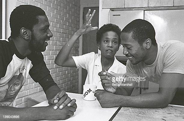A young Whitney Houston with brother Michael Houston and half brother Gary Garland circa 1982 in West Orange New Jersey