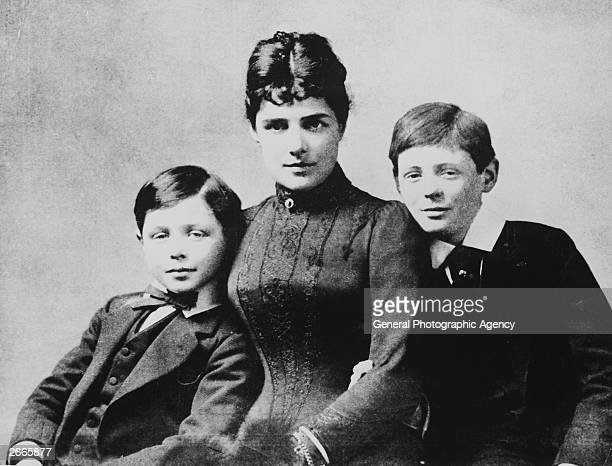 A young Winston Churchill the future British Prime Minister with his mother the American heiress Lady Jennie Jerome and his brother John Strange...