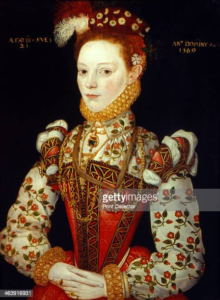 'A Young Woman' 1569 Halflength portrait of a richly dressed young woman aged 21 From the Tate Gallery London
