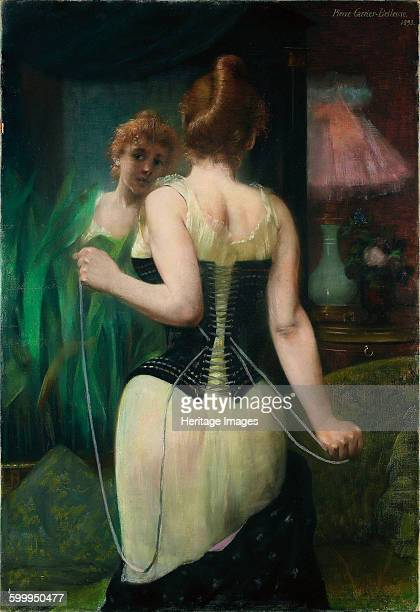 Young Woman Adjusting Her Corset 1893 Private Collection Artist CarrièreBelleuse Pierre