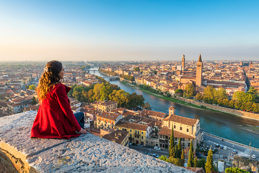 A young woman admires the view of Verona old town from Castel San Pietro - gettyimageskorea
