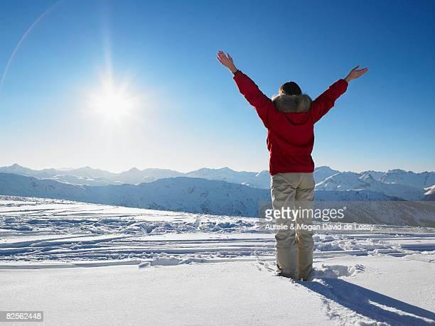 Young woman admiring mountain view