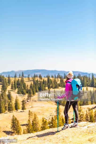 young woman admiring the beautiful landscape at velika planina, stahovica, upper carniola region, slovenia, europe - eden pastora fotografías e imágenes de stock