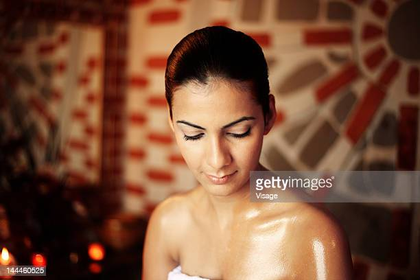 Young woman after a oil massage