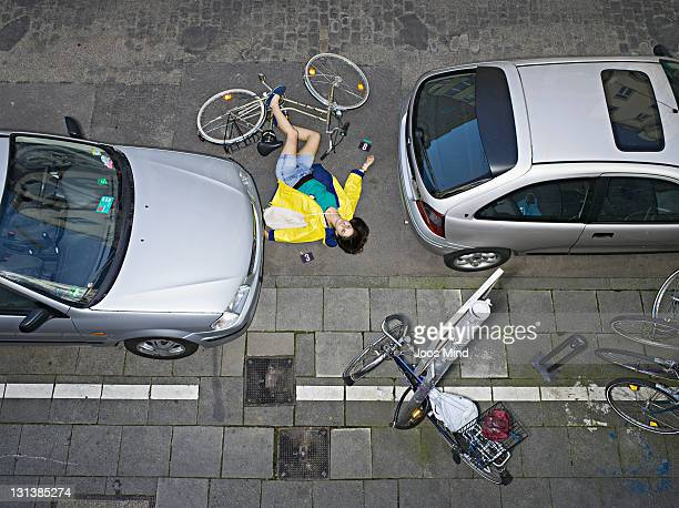 young woman after bicycle accident - horrible car accidents stock pictures, royalty-free photos & images