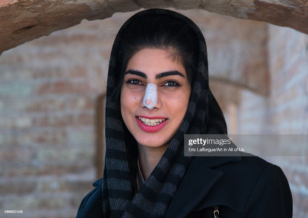 Young Woman After Nose Plastic Surgery, Isfahan Province, Isfahan, Iran : ニュース写真