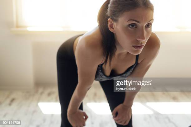 Young woman after workout
