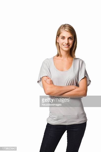 young woman against isolated white background - three quarter length stock pictures, royalty-free photos & images