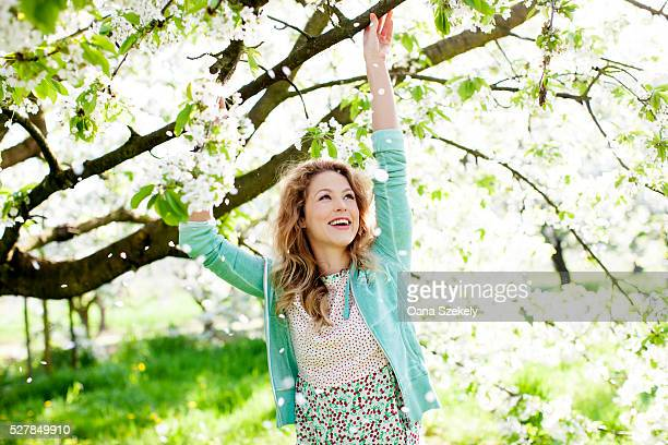 young woman amongst blossoming trees - frühling stock-fotos und bilder