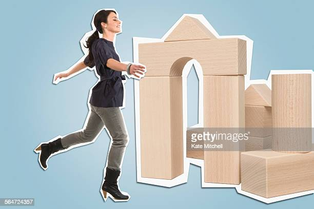 Young Woman and Building Blocks