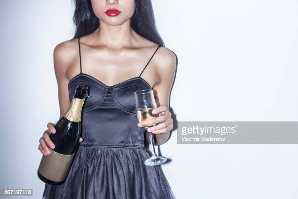 Young woman and champagne