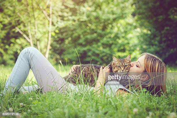 Young woman and her cat