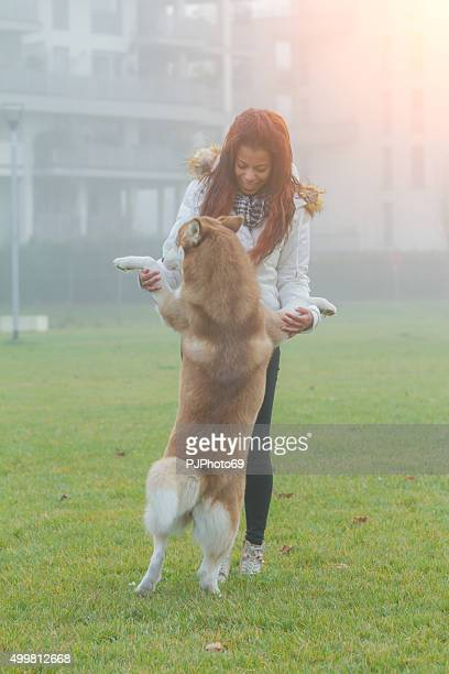 young woman and her dog running and playing - pjphoto69 stockfoto's en -beelden