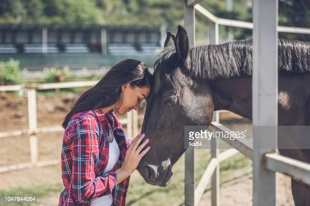 mujer joven y caballos - 1 woman 1 horse fotografías e imágenes de stock
