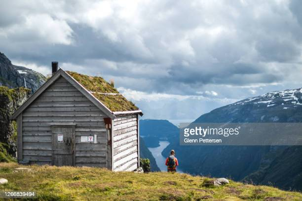 young woman and log cabin in front of fjord in norway. - scandinavian ethnicity stock pictures, royalty-free photos & images