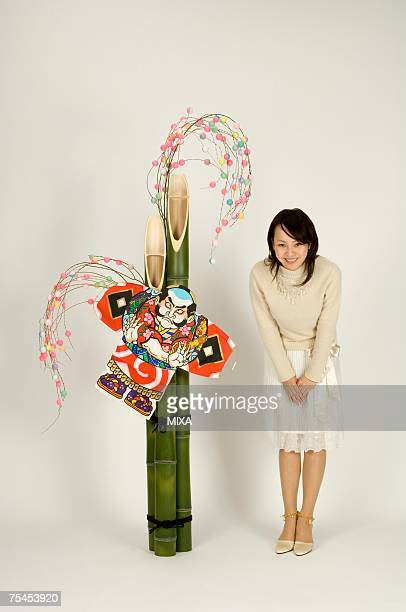 Young woman and New Year decoration