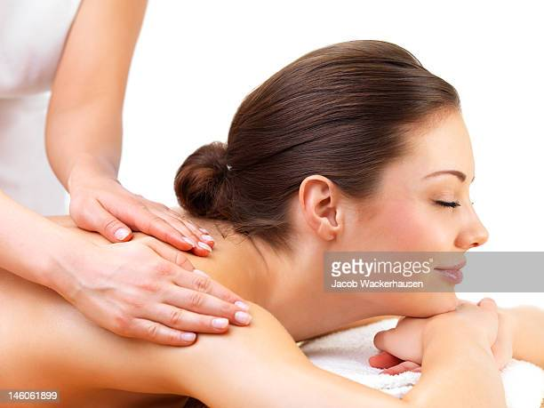 young woman at a day spa - sensual massage stock photos and pictures