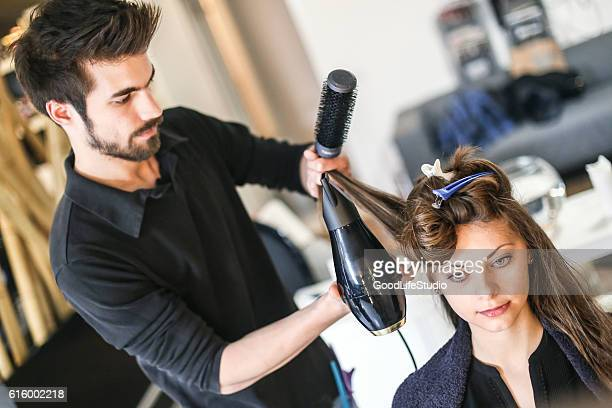 Young woman at a hair salon