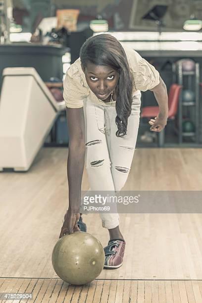 Young woman at bowling