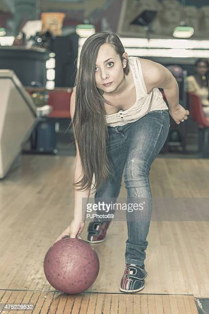 young woman at bowling - pjphoto69 stockfoto's en -beelden
